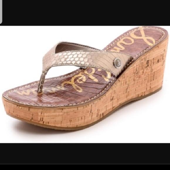 Clothing, Shoes & Accessories Sandals Provided San Edelman Gold Platform Sandals Size 8.5